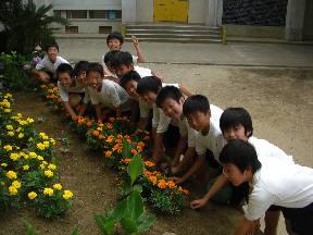 花壇の草取りをする6年生のみなさん