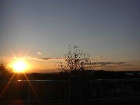 屋上から見た夕日