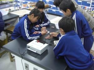 協力しながら実験を進める5年生(12:00)