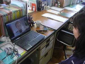 Skypeでの交流風景その2(14:35)