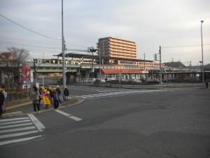 鹿島神宮駅前交差点 登校の様子その1(7:30)