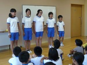 今日の児童朝会は、放送委員会の発表です。\