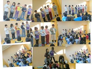 けん盤ハーモニカの発表、ソーラン節の踊り発表