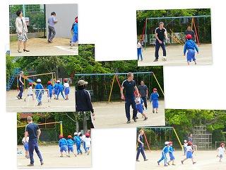 リチャード先生と遊ぼう(1・2年生):サッカーで遊びました。\