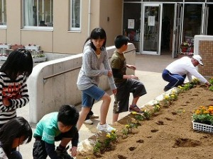 奉仕活動 花壇の植え替え作業