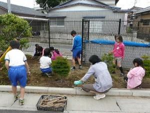 朝の奉仕作業(1・2年生と5年生)\\
