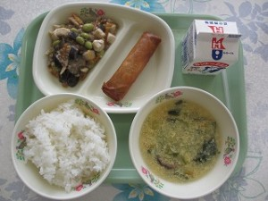 中華風コーンスープとなす入りマーボーどうふ