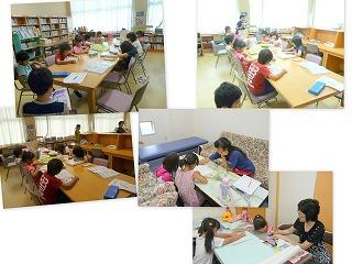 学童の様子、1・2年生の課題学習の様子\\