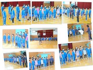 全校合唱の練習風景