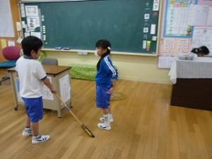 少ない人数で 教室掃除(1年生)\