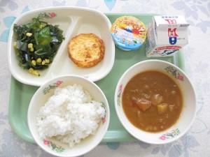 カレーライス、オムレツ、海藻サラダ