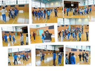 班別による縄跳び練習の風景