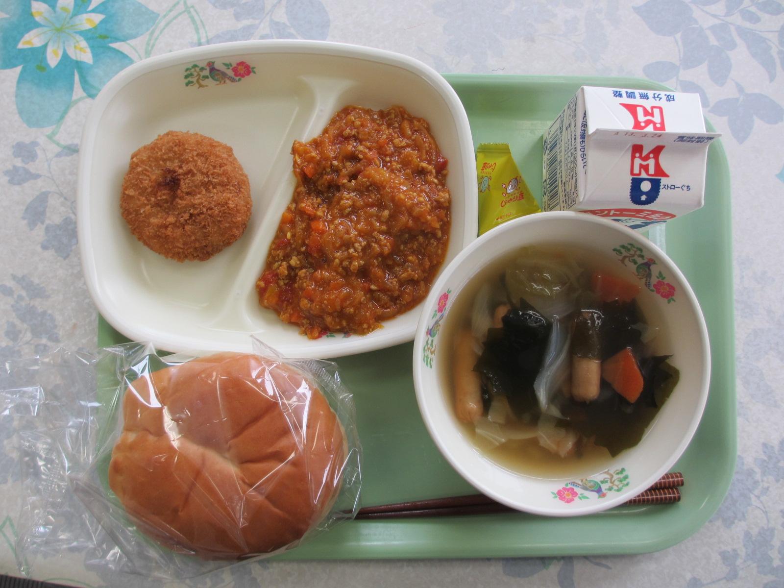 ドライカレー・野菜スープ・ローズポークコロッケでした。ごちそうさまでした。\\\