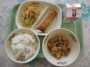 麻婆豆腐と春巻き、もやしのナムル