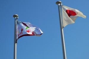 日の丸の隣の旗は,「陸上記録会で頑張るぞ!」の団結の旗です。れんしゅうがんばるぞ!!!\