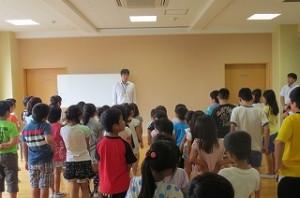 保健主事の先生と生徒指導の先生から夏休みに注意することが話されました。\