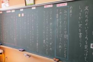 今日の授業の流れです。授業の始まりにおいて既に黒板は文字で埋まっています。\\