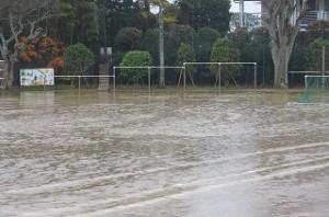 運動場にも大きな水たまりができています。\