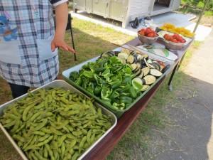 これが取れた野菜です。「枝豆・ピーマン・なす・トマト・トウモロコシ」と豊作です。他のテーブルにもこれと同じものが三カ所もありました。\