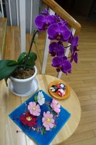 胡蝶蘭は,去年学校にあった物で,用務員竹田さんのご主人がまた花を咲かせ,学校へ持ってきてくださいました。手芸の花たちは,読み聞かせの古賀さんが飾ってくださいました。とてもきれいです。\